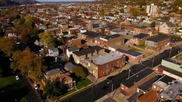 Forward Aerial Shot of Typical Western Pennsylvania Small Town video