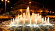 Fouintain illuminated at night video