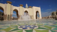 Fountain and architectural detail of Hassan II Mosque in Morocco video