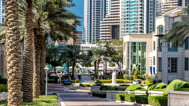 Fountain and palms timelapse at the Marina walk, During day time. Dubai, UAE video