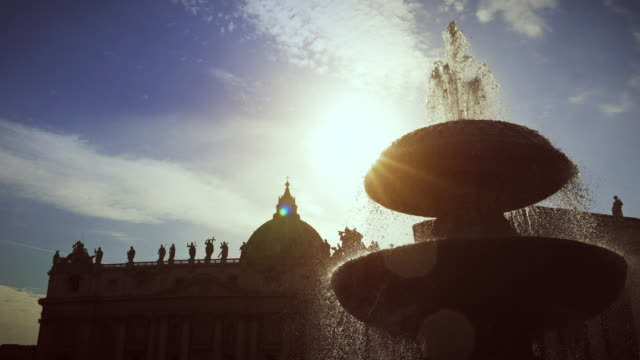 Fountain at Saint Peter Square in Vatican, Rome video