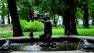 Fountain boy blows a horn video