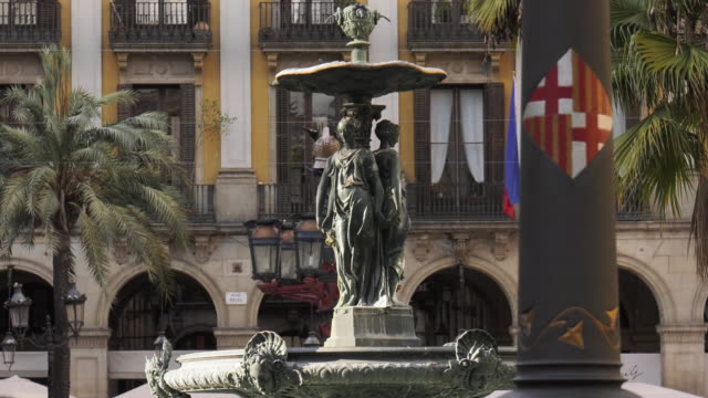 Fountain In Placa Reial Royal Square In Barcelona video