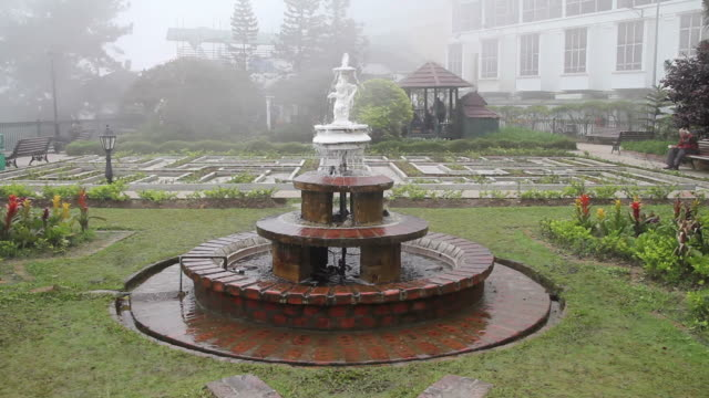 Fountain in the mist. video