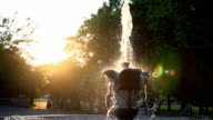 Fountain in the Park in the setting sun. video