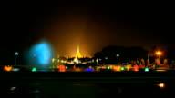 fountain with colorful illuminations at night near the Shwedagon Pagoda video