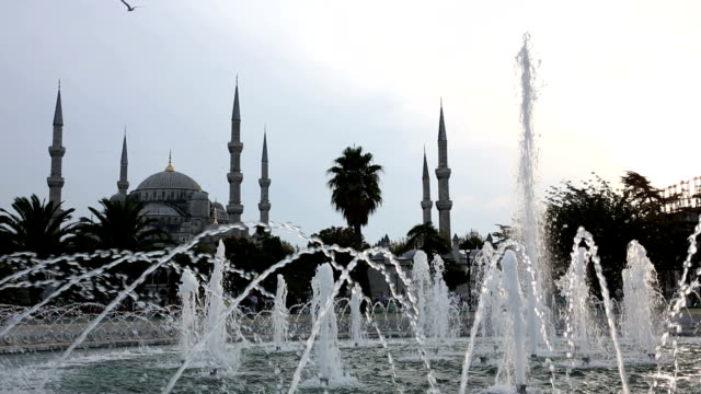 Fountains in front of Blue Mosque, Istanbul, Turkey video