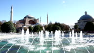 Fountains in front of Hagia Sophia, Istanbul, Turkey video