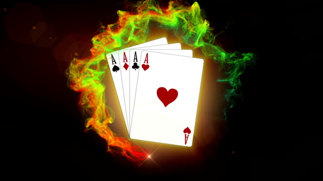 Four Aces, Poker Card in Particle Ring Red, with Alpha Channel video