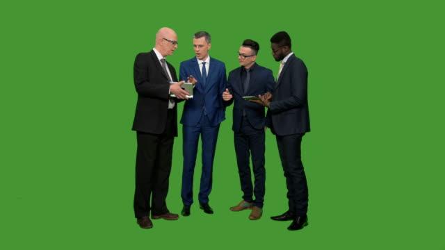 Four businessmen having conversation video