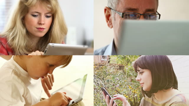 Four digital tablet users. Generations. video