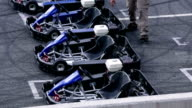 HD: Four empty go-karts on the racing track video