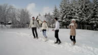 four friends at the snow video