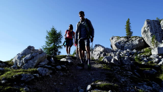 Four friends walking along hiking trail path. Group of friends people summer adventure journey in mountain nature outdoors. Travel exploring Alps, Dolomites, Italy. 4k slow motion 60p video video