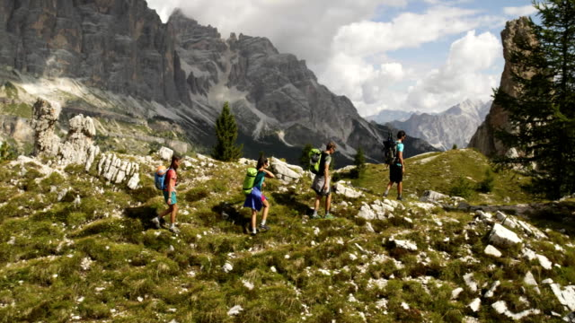 Four friends walking along wild hiking trail path. Group of friends people summer adventure journey in mountain nature outdoors. Travel exploring Alps, Dolomites, Italy. 4k slow motion 60p video video