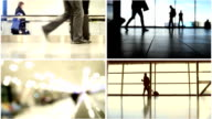 Four in one: Airport concept - passengers follow to boarding with baggage to aircraft video