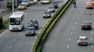 Four lanes traffic close up shot video