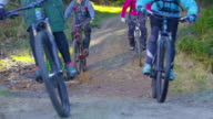 Four mountain bikers going down forest trail and through puddle video