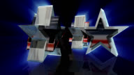 Four rotating glass stars with American flag and blue rays video