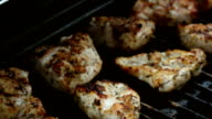 Four videos of cooking poultry on the grill-real slow motion video
