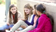 Four Young Girls Hanging Out Together In Park video