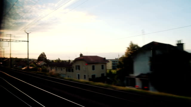 Foward speedy train window with sunrise video