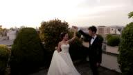 Fragile wedding couple dances on the roof. Paris on background video