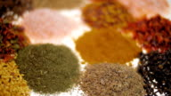 Fragrant, aromatic, natural and good for health, spices lie on the table. Macro video