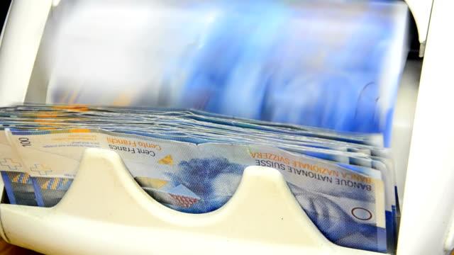 franc 100 swiss bills cash money counter of banknotes video