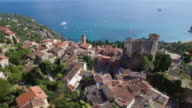 France, Aerial view of the hilltop village of Roquebrune Cap Martin video