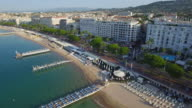 France, Cannes, Aerial view over the croisette video