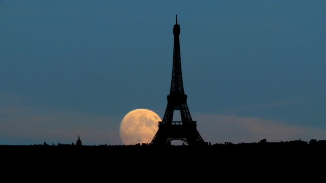 France Eiffel tower moonrise video