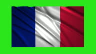 France flag waving,loopable on green screen video