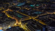 france night illumination paris living block roof top panorama 4k time lapse video