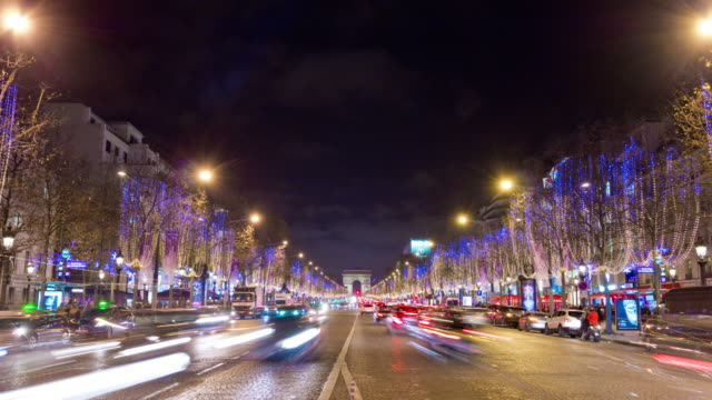 france paris famous night illuminated traffic champs elysees arch panorama 4k time lapse video