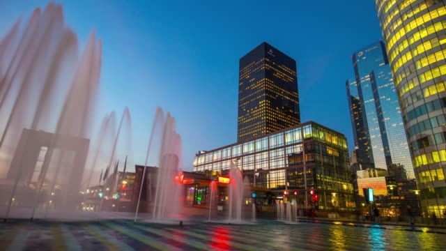 france paris modern business block sunset sky fountain la defense panorama 4k time lapse video