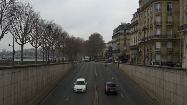 france rainy day paris famous traffic tunnel new york avenue panorama 4k video