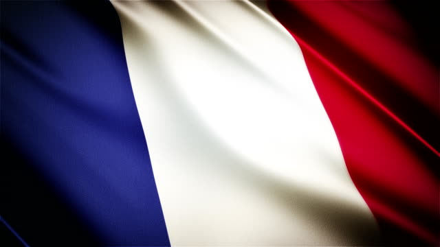 France realistic national flag seamless looped waving animation video