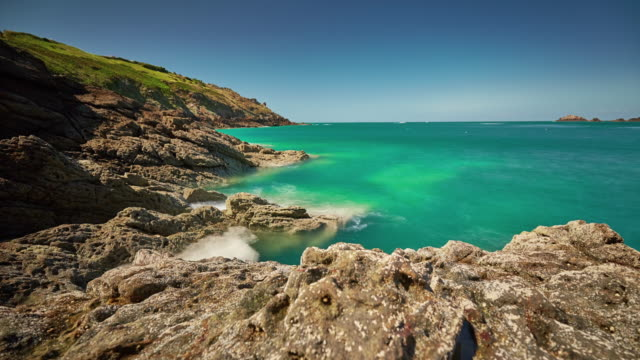 france summer gorgeous nature bay panorama 4k time lapse video