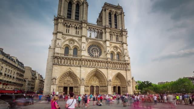 france sunny day notre dame de paris crowded tourist square 4k time lapse video
