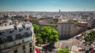 france sunny day paris city roof top traffic street panorama 4k time lapse video