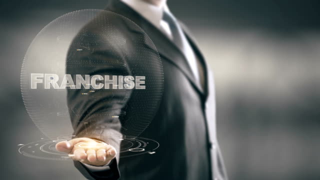 Franchise Businessman Holding in Hand New technologies video