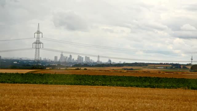 frankfurt skyline and fields video