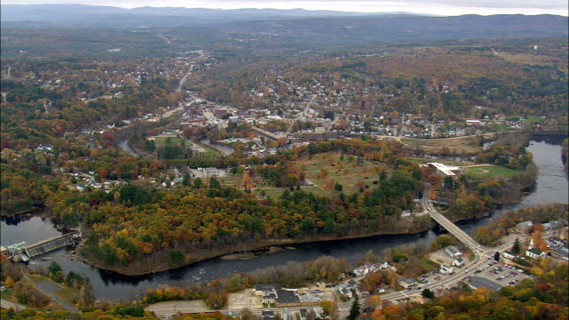 Franklin And Dam  - Aerial View - New Hampshire,  Merrimack County,  United States video