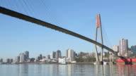 Fraser River Tugboat, New Westminster Skyline video
