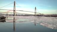 Fraser River, Winter Ice, New Westminster. 4K UHD video