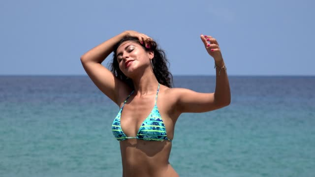 Freedom Lifestyle Of Woman In Bikini With Outstretched Arms video