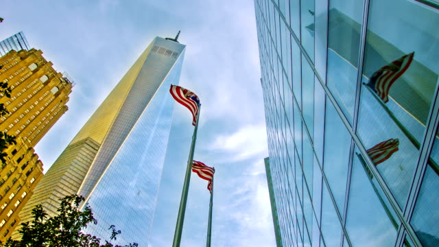 Freedom tower and American flag video