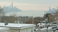 Freedom tower New York City skyline downtown Manhattan winter day video