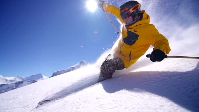 Freeride powder skiing video